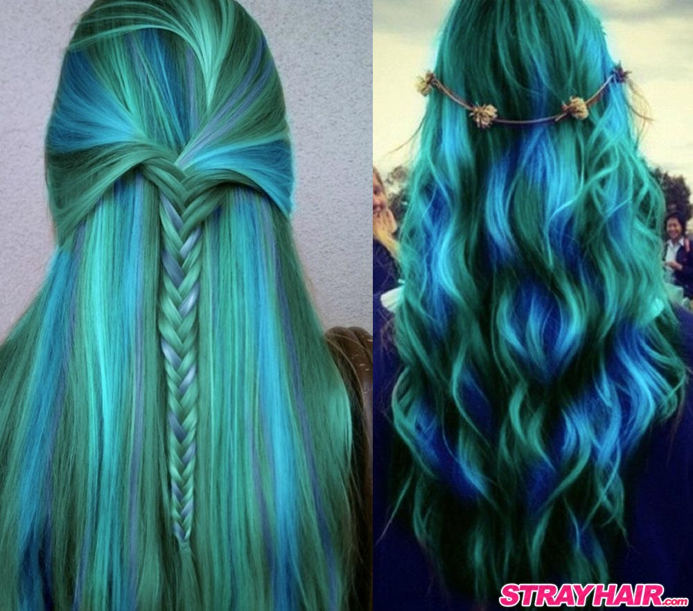Northern Lights hair color blue green