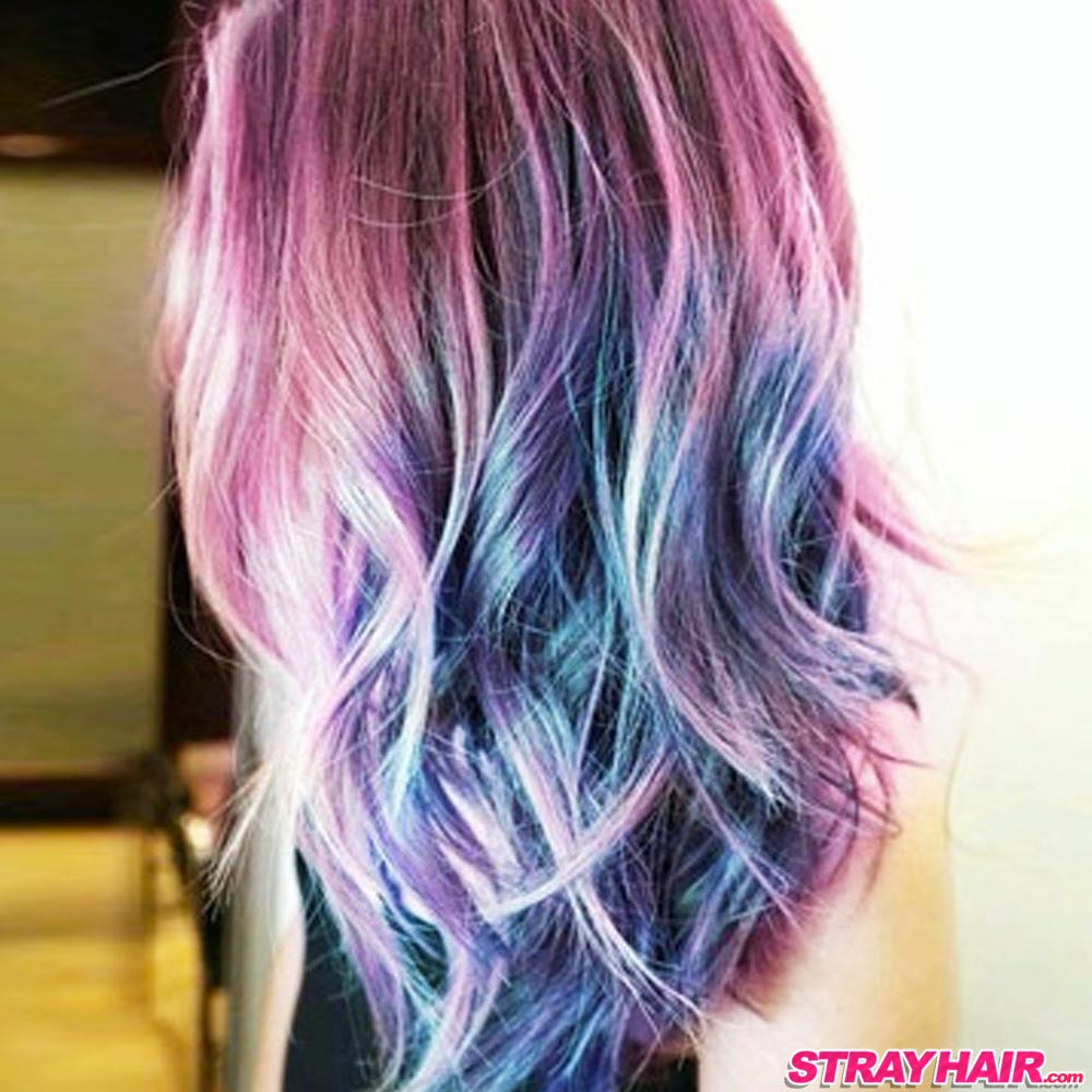Northern Lights or Aurora Borealis hair color effect