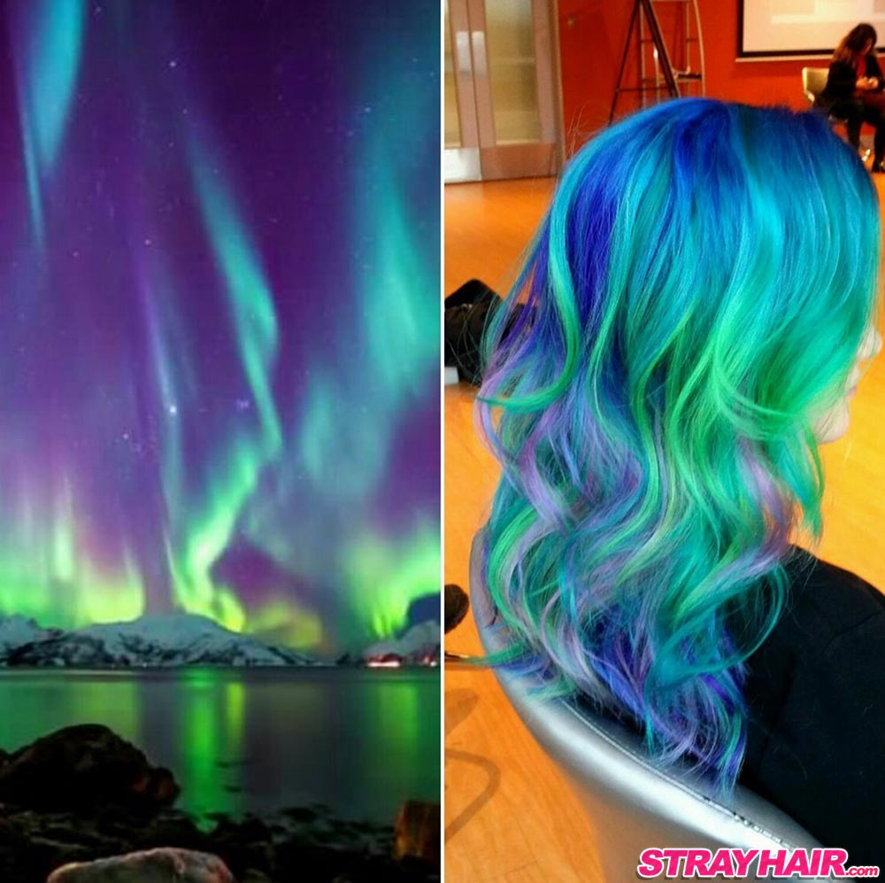 blue green purple Northern Lights Aurora Borealis super bright hair color