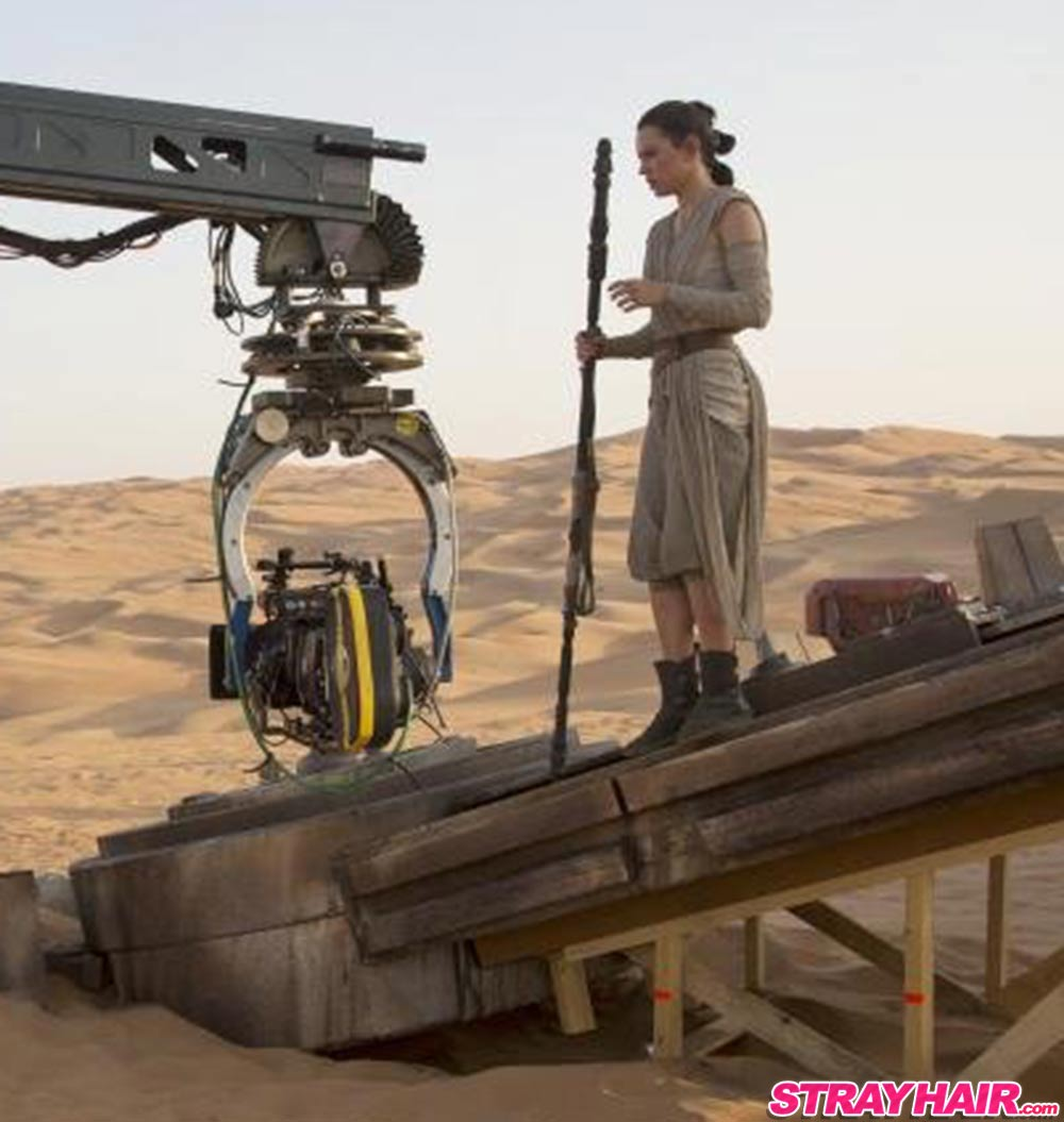 Daisy Ridley starwars hairstyle on starwars set