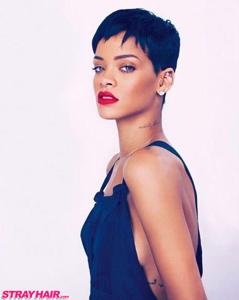 Rihanna Short Hair Uneven Sexy Pixy Cut