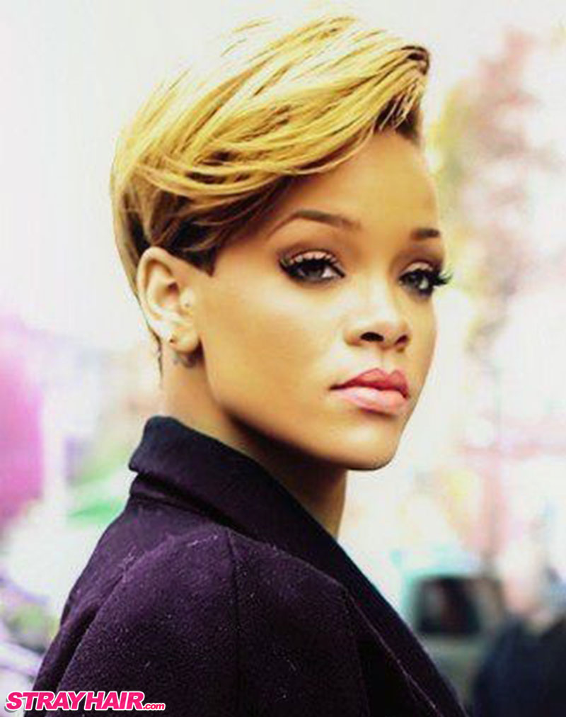 Rihanna sideswept super classy looking short hairstyle blonde dyed