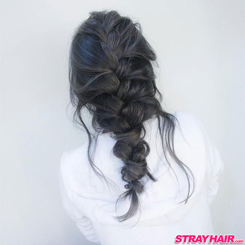 charcoal gray hair in a long messy braid