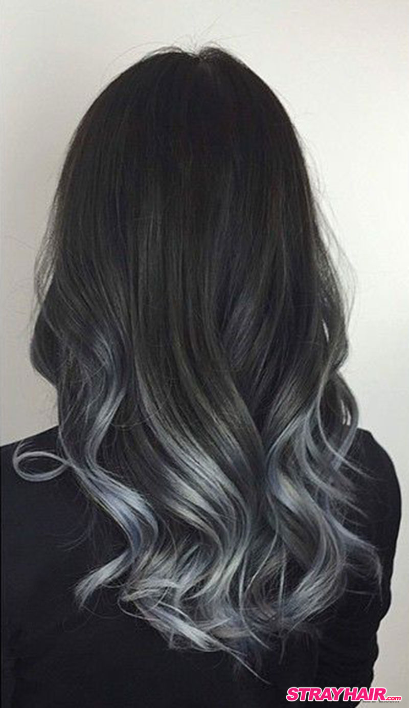 ... silver gray braided hairstyle charcoal gray hair in a long messy braid
