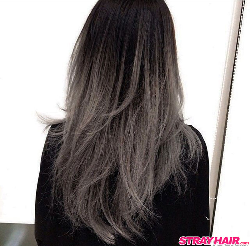 gunmetal gray ombre hair color