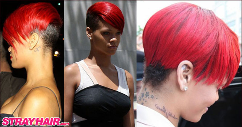 rihanna red undercut hairstyle