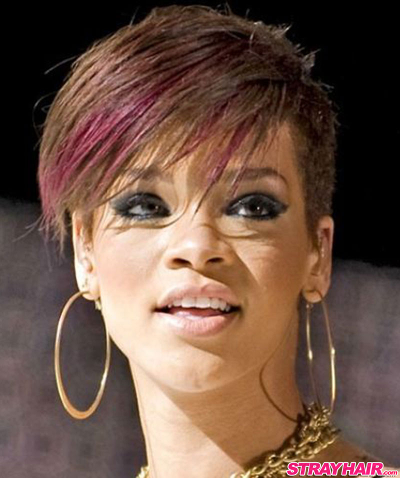 rihanna short hair with red streak