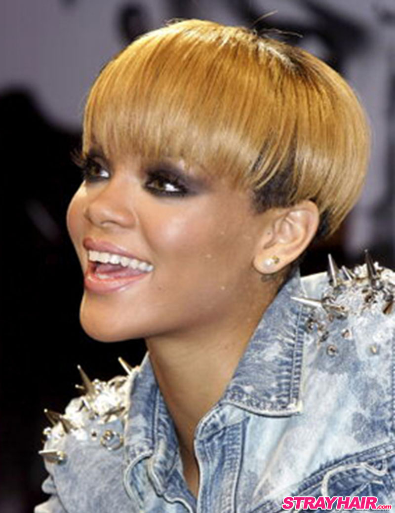 rihanna short hair worn straightened and down