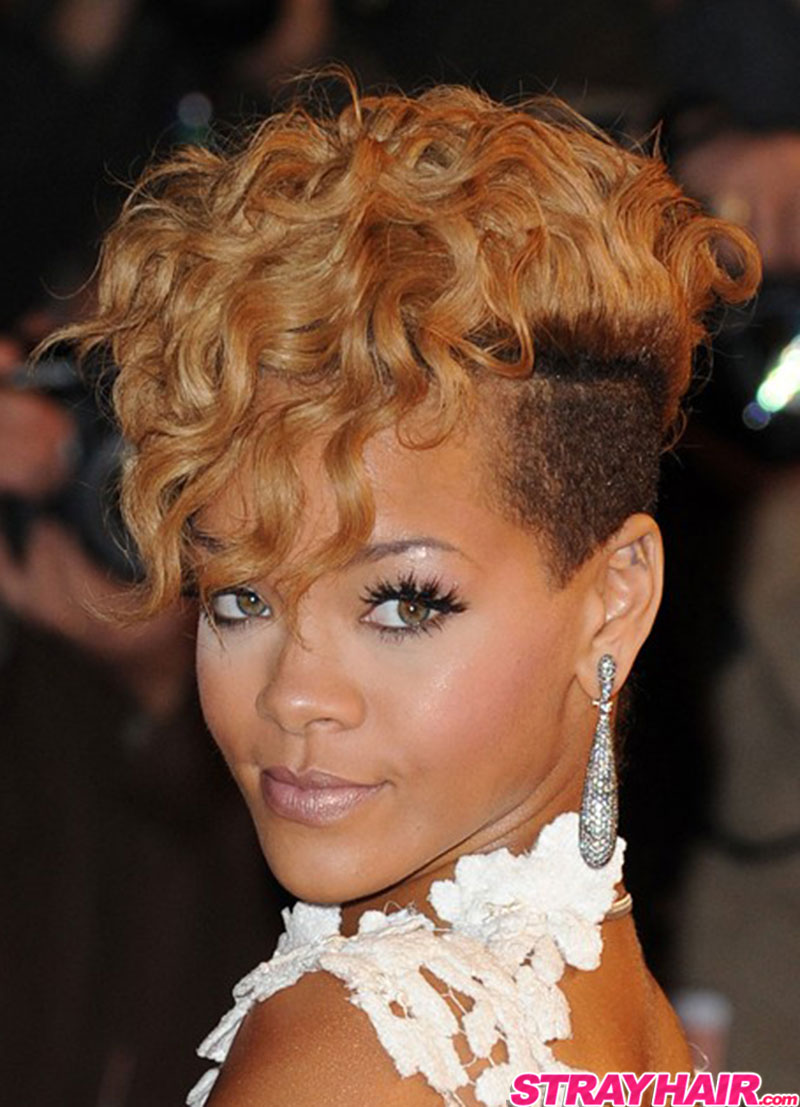 rihanna wavy currly short blonde hair with undercut sides