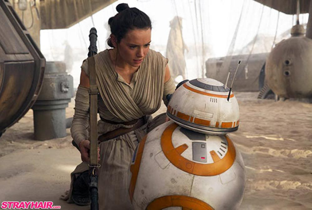 tri bun hairstyle star wars the force awakens daisy ridley bb8