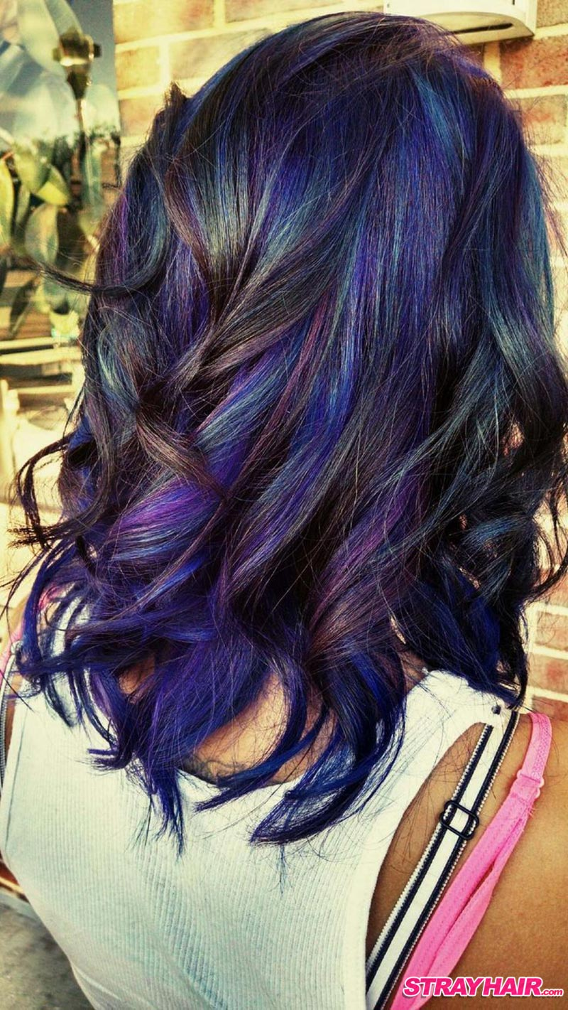 Blue and purple highlights in brown hair