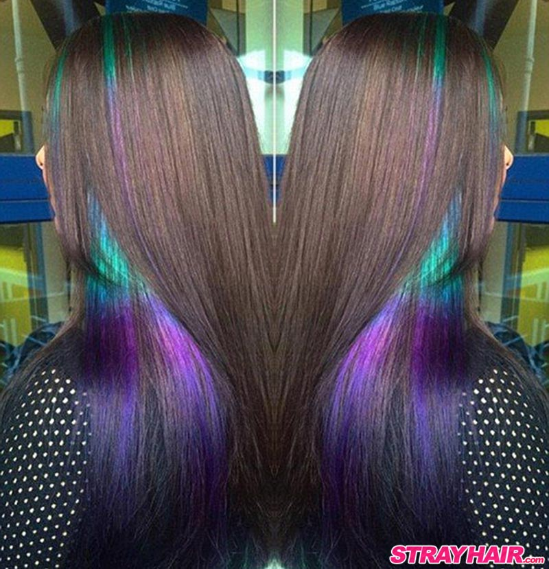 hidden color under long dark hair