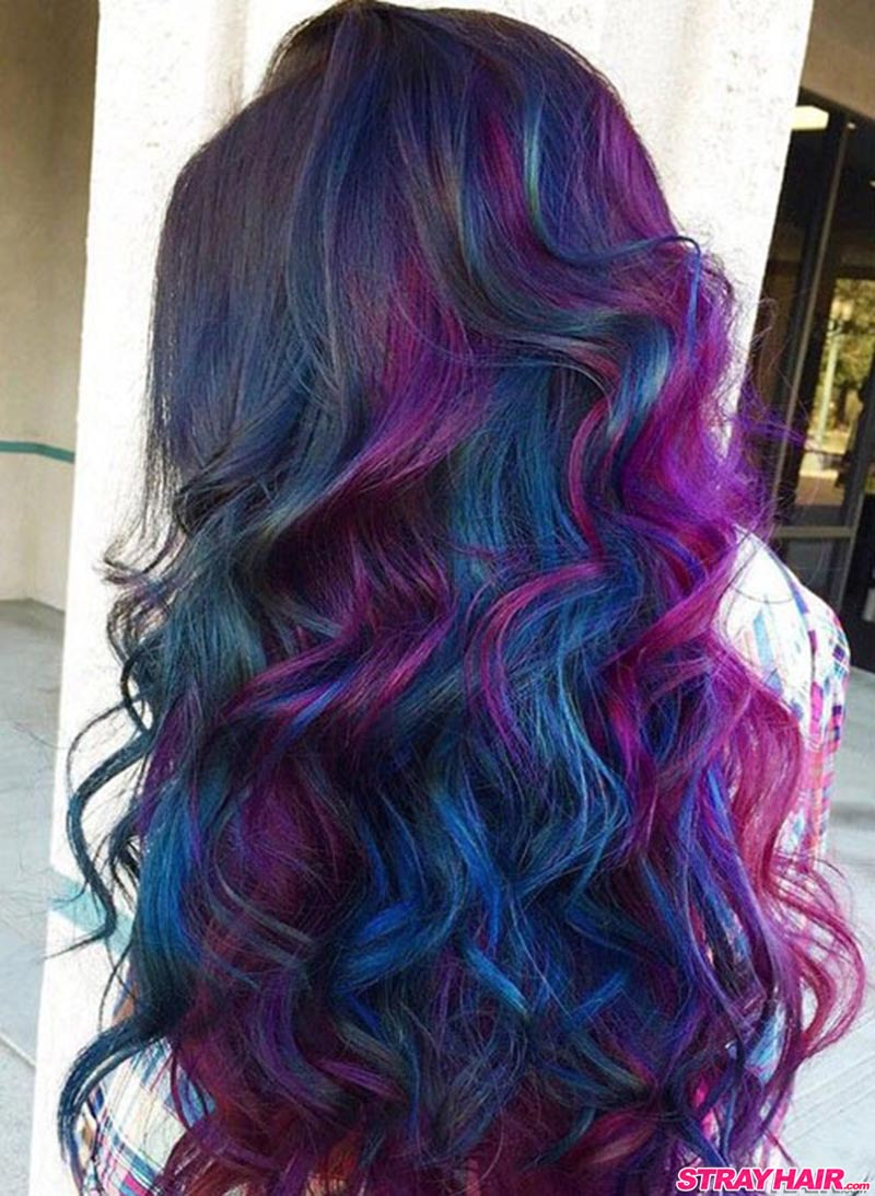 long wavy oil slick hair colors