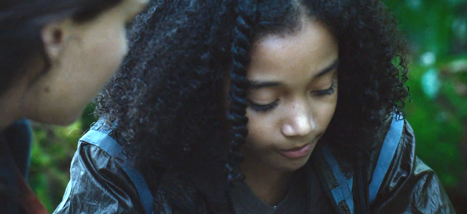 Amandla Stenberg as Rue in the hungergames curly hair with twist