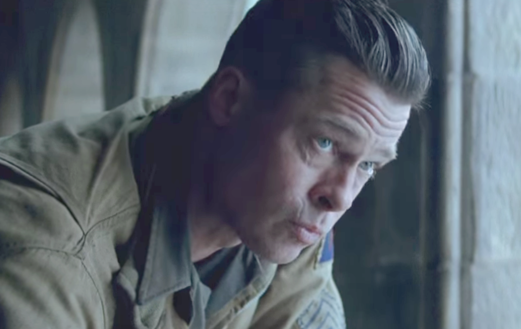 Brad Pitt in fury hairstyle shaved sides