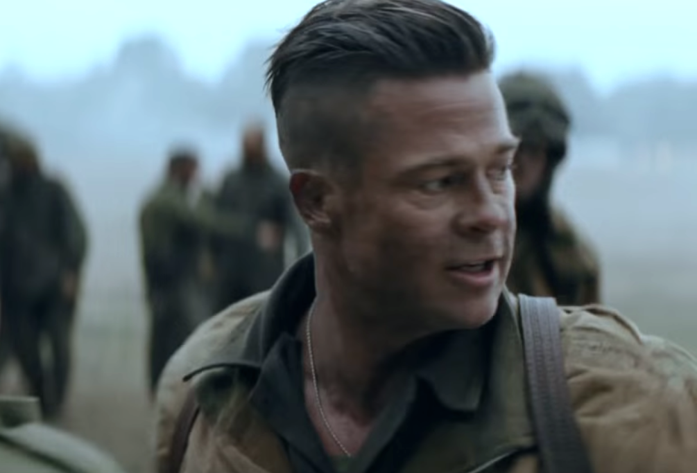 Brad Pitt in fury movie hair 2014
