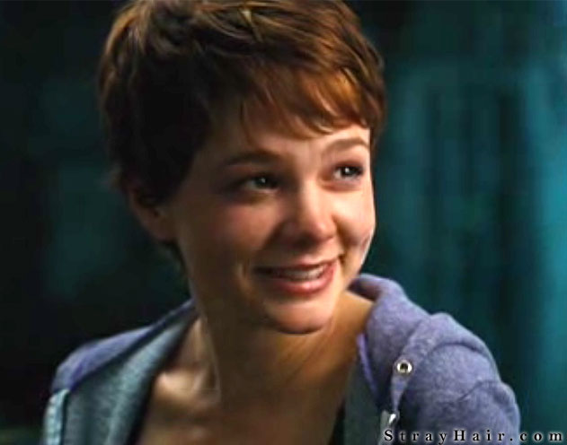 Carey Mulligan with a short messy pixy cut hairstyle