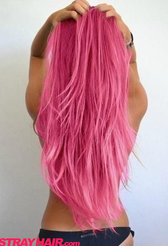 Long wavy Pink Hair hair pink dye