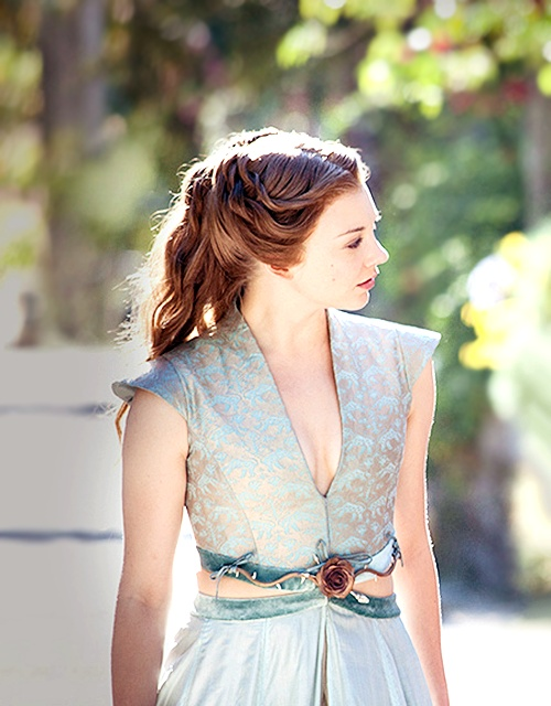 Natalie Dormer in Game of Thrones updo hairstyle