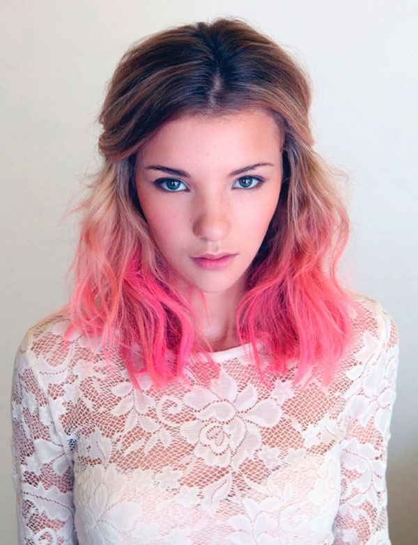 Pink and natural ombre short hairstyle