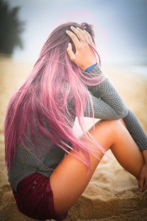 Pinked kissed long brown hair