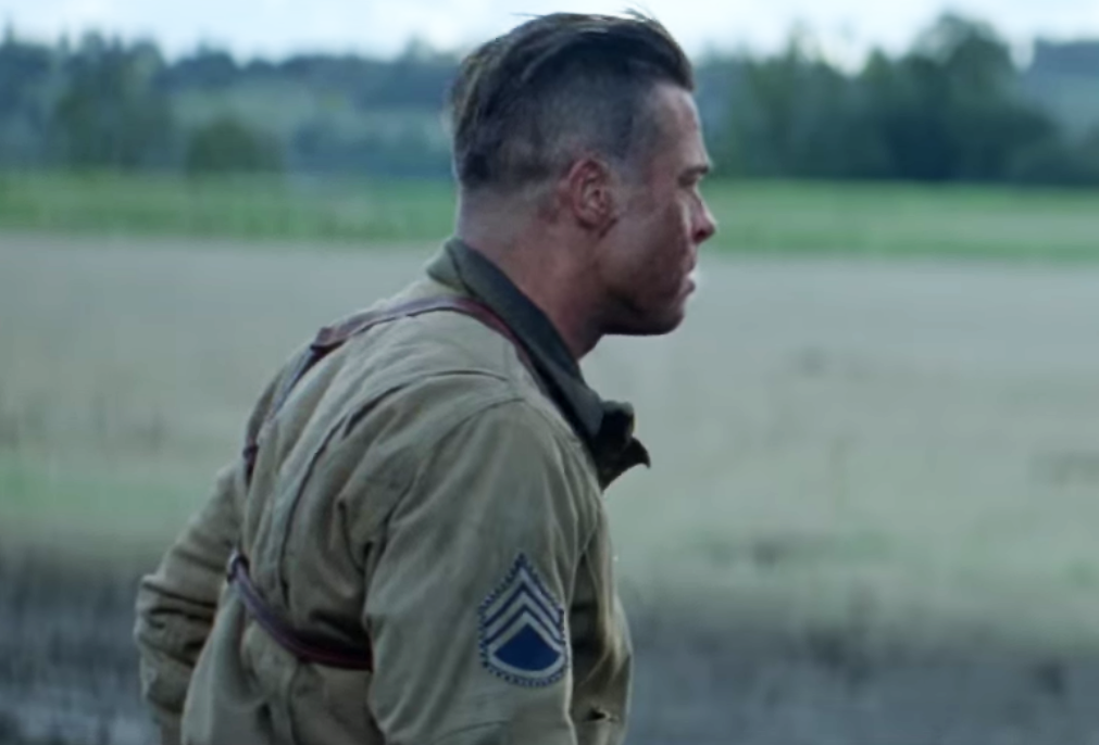 SIDE VIEW brad pitt in fury hairstyle