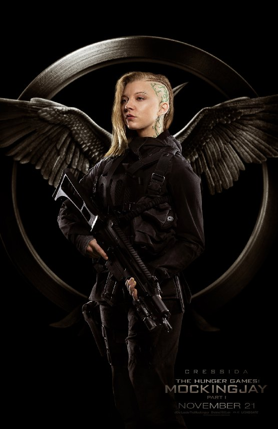 The Hunger Games - Mockingjay Natalie Dormer hairstyle floral head tattoo