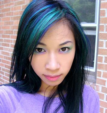 blue-green-black-hair
