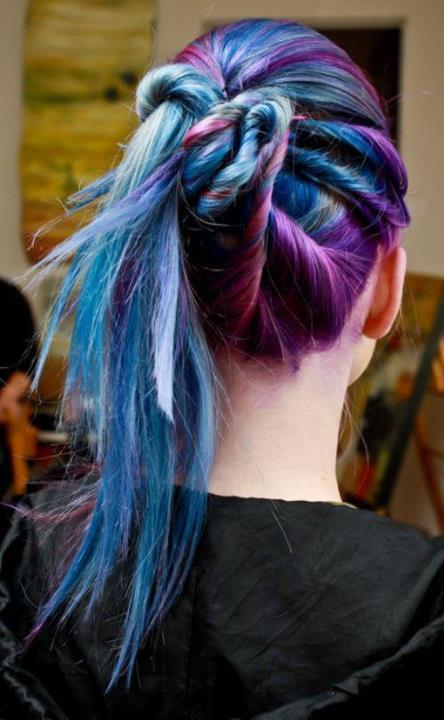 Daily Hair Spotting Purple And Blue Twisted Updo Strayhair