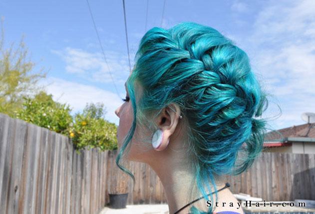 blue braided hair