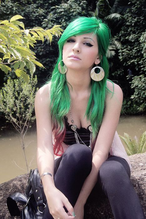 bright green hair color
