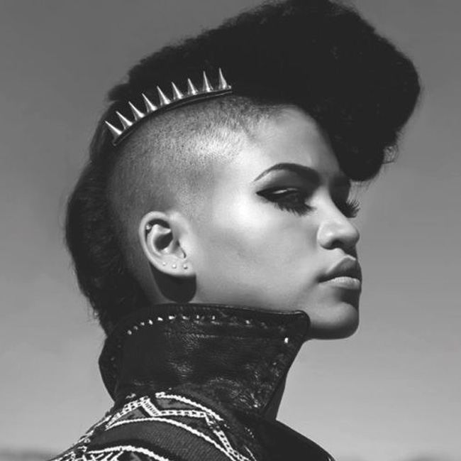 cassie punk updo hairstyle with spiked accessories