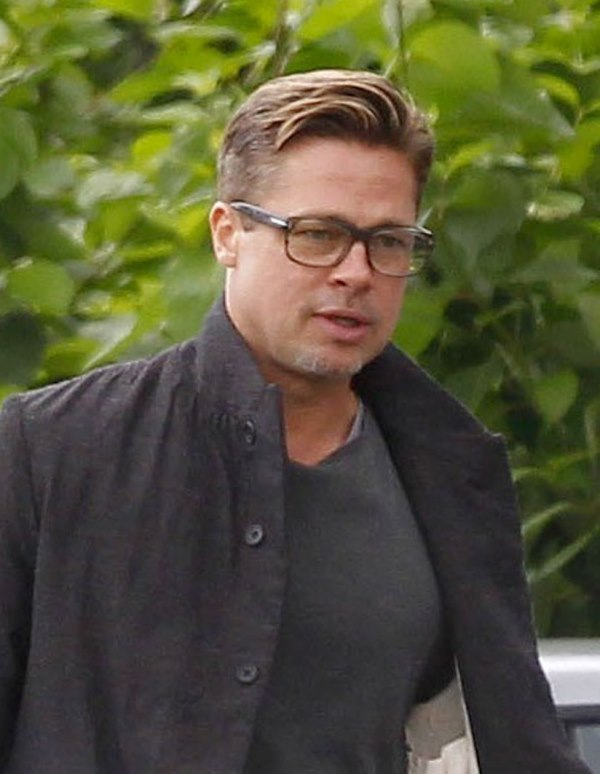 brad pitt hair filming fury softer look off set