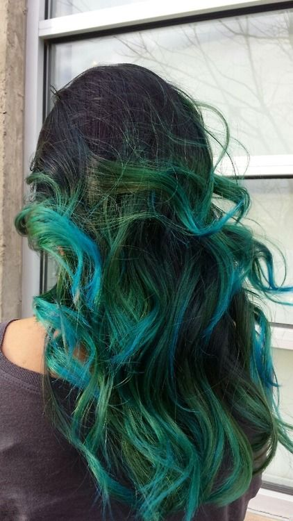 green and blue long wavy hair dyed from black