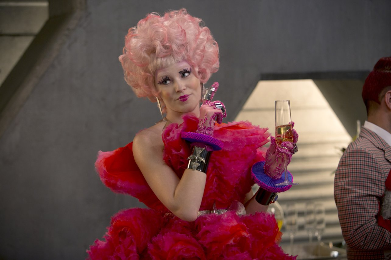 hungergames hairstyle big fluffy pink hair
