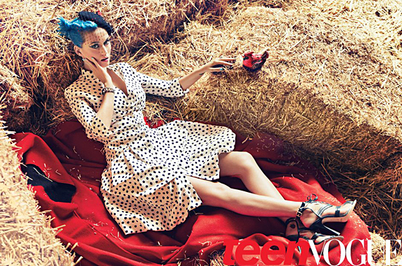katy perry teen vogue blue hair