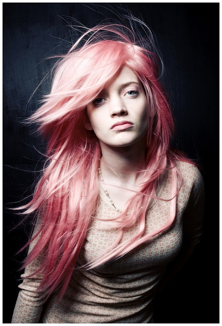 light pastel pink hair long