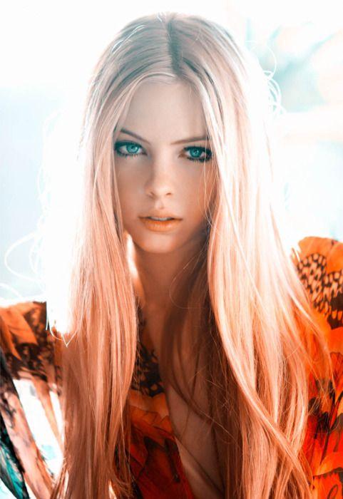 long blonde hair dyed peach ends gorgeous