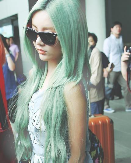 long mint green hair color
