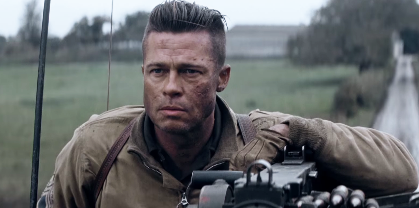 long top shaved sides hairstyle brad pitt FURY movie