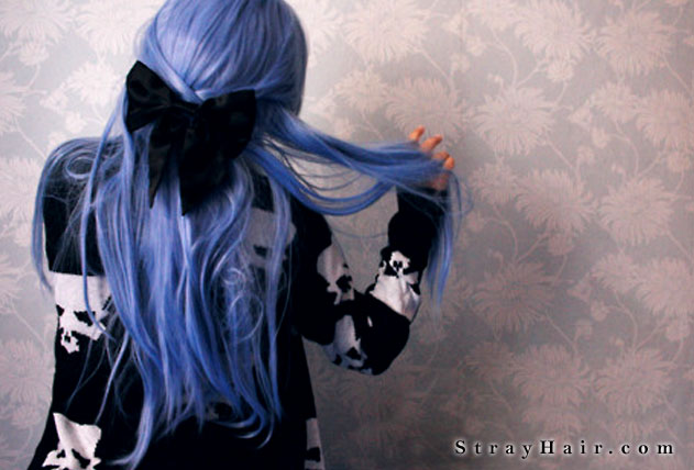 long blue hair with bow