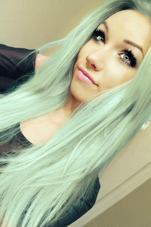 mint green straight hair