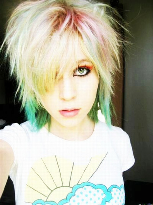 multicolored dyed short blond hair