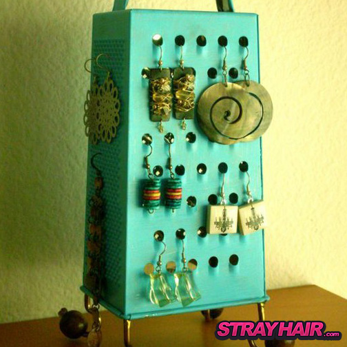 old cheese grater earring storage display