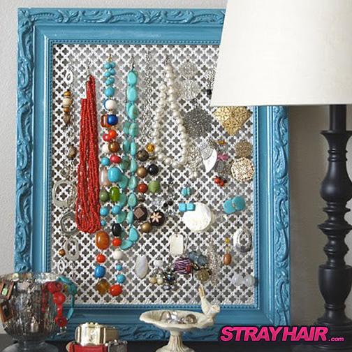 ornate metal mesh screen in frame hair accessory jewlery storage