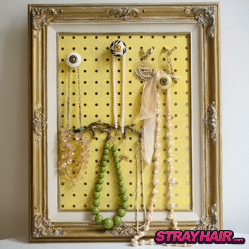 peg board and old handles accessory display storage