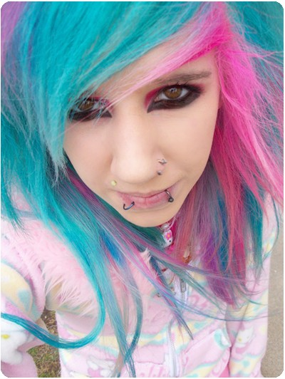 pink and green emo hair
