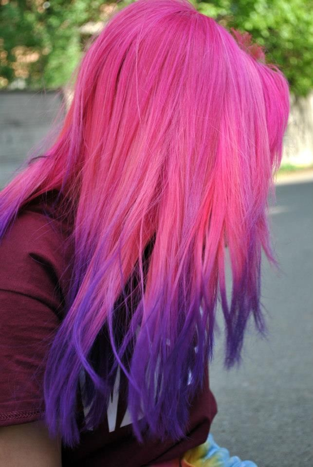pink to purple ombre hair color