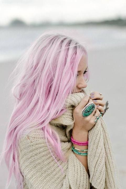 platinum and pastel pink hairstyle