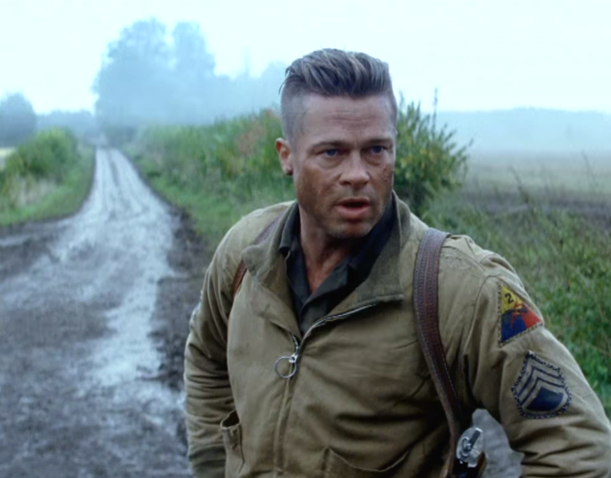 screen shot brad pitt long on top haircut in fury